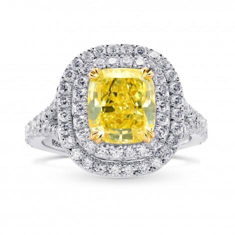 Fancy Intense Yellow Cushion Diamond Halo Ring (3.26Ct TW)