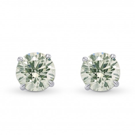 Very Light Green Diamond Stud Earrings, SKU 284434 (2.05Ct TW)