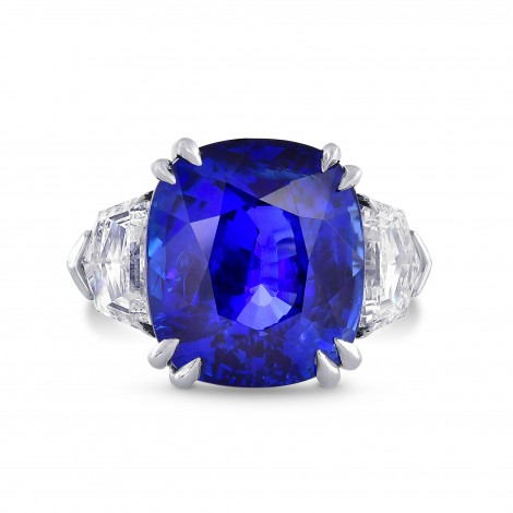 Sri-Lanka No Heat Royal Blue Sapphire & Diamond Ring In Platinum, ARTIKELNUMMER 28453V (19,42 Karat TW)