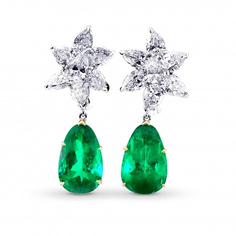 Colombian Emerald & Diamonds Drop Earrings, ARTIKELNUMMER 28454V (22,92 Karat TW)