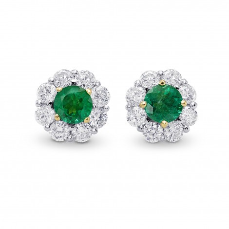 Round Emerald & Diamond Halo Earrings, SKU 28479V (1.35Ct TW)