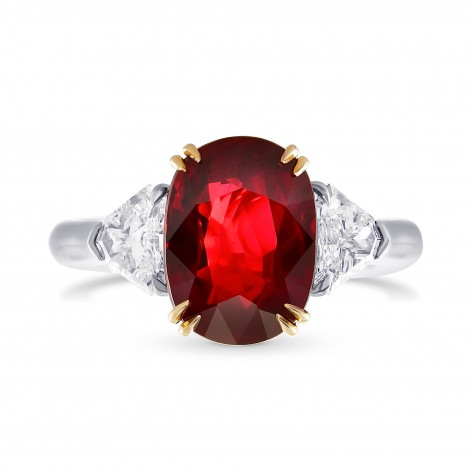 Mozambique No Heat Ruby Three Stone Ring, SKU 28509V (5.11Ct TW)
