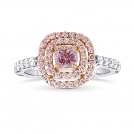 Fancy Intense Purplish Pink Double Halo Diamond Ring., SKU 28541V (1.02Ct TW)