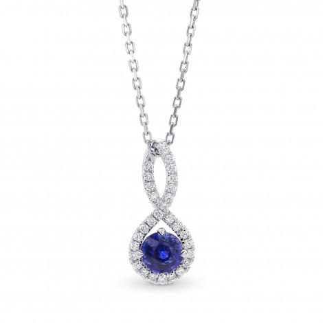 Round Sapphire & Diamond Drop Pendant, SKU 286803 (0.73Ct TW)