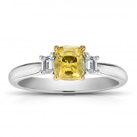 1.11 Carat Cushion Yellow Sapphire and Diamond Ring, SKU 28707V (1.37Ct TW)