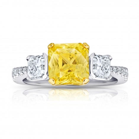 3.15 Carat Yellow Sapphire and Diamond Ring, SKU 28708V (4.30Ct TW)