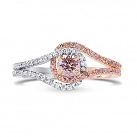 Fancy Light Orangy Pink  Crossover Halo Diamond Ring, SKU 287230 (0.70Ct TW)
