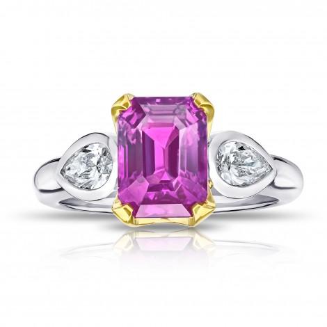 4.04 Carat Emerald Cut Pink Sapphire and Diamond Ring, SKU 28740V (4.58Ct TW)