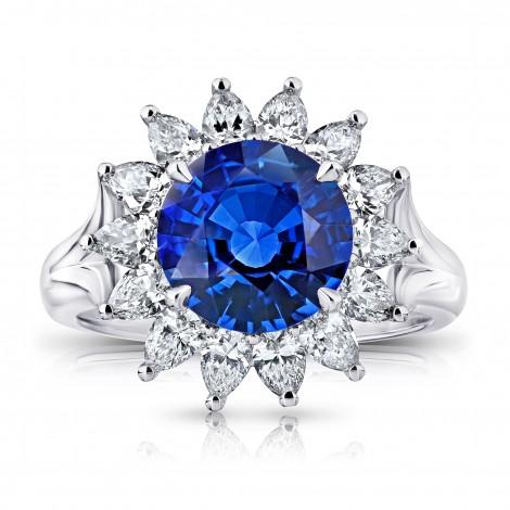 3.40 Carat Round Blue Sapphire and Diamond Ring, SKU 28746V (4.70Ct TW)