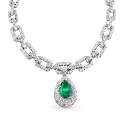 Pear Shape Emerald and Diamond Drop Necklace, ARTIKELNUMMER 28756V (62,34 Karat TW)