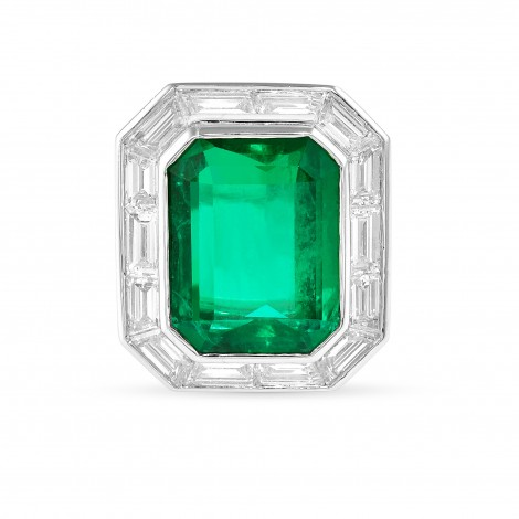 Octagonal Emerald and  Diamond Halo Ring, SKU 28795V (10.48Ct TW)
