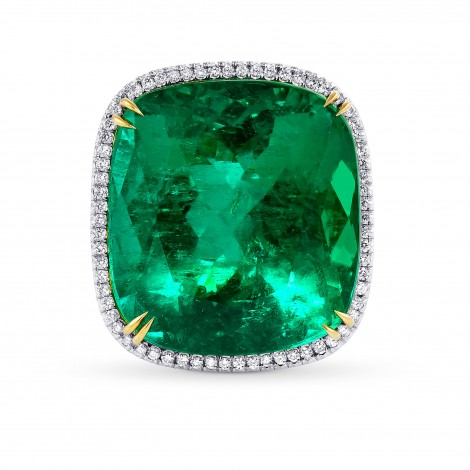32.20ct Green Emerald Cushion and Diamond Pave Ring., SKU 28835V (34.11Ct TW)