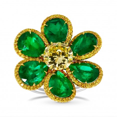 Brilliant Fancy Yellow Diamond  and Pear Shape Emerald Couture Ring., SKU 28837V (7.75Ct TW)