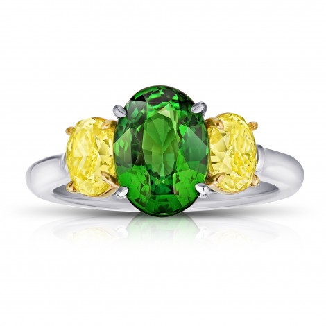3.02 Carat Oval Green Tsavorite and Diamond Ring, SKU 28892V (4.60Ct TW)