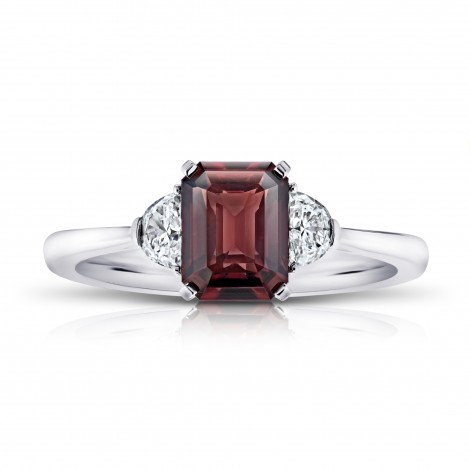 2.08 Carat Emerald Cut Reddish Brown Sapphire and Diamond Ring, SKU 28912V (2.37Ct TW)