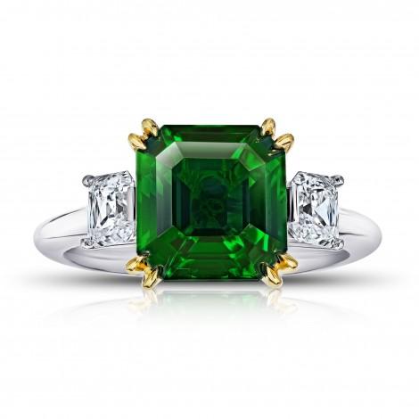 5.07 Carat Square Emerald Cut Green Tsavorite and Diamond Ring, SKU 28916V (6.20Ct TW)