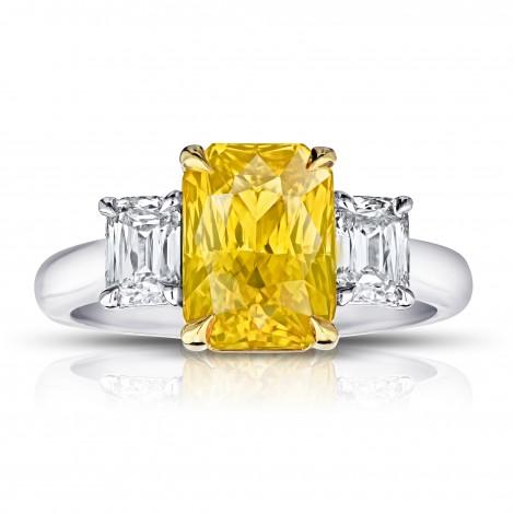 Radiant Cut (no heat) Yellow Sapphire Ring, SKU 28917V (4.96Ct TW)