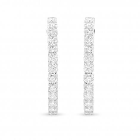 Round Brilliant Hoop Diamond Earrings, SKU 28925R (4.60Ct TW)