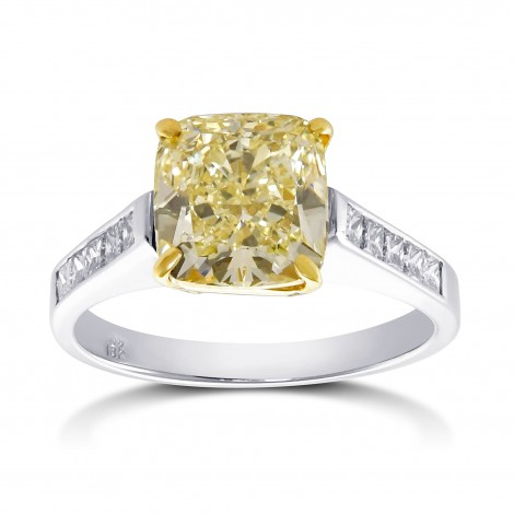 Fancy Yellow Cushion Shape Diamond Side Stone Ring, SKU 28976V (3.44Ct TW)