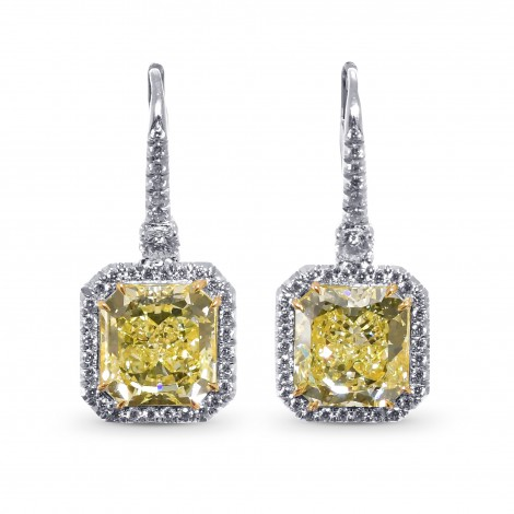 Fancy Yellow Radiant Halo Diamond Earrings, SKU 28980V (10.07Ct TW)