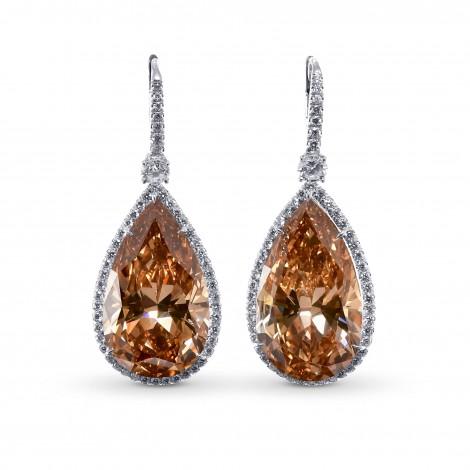Extraordinary Fancy  Deep Brown Yellow Pear Shape Halo Diamond Earrings, ARTIKELNUMMER 28982V (42,46 Karat TW)