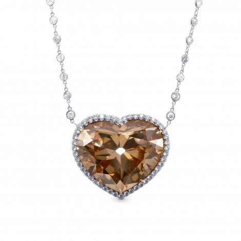 Extraordinary Fancy Brown Yellow Heart Shape Diamond Halo Pendant, SKU 28983V (55.32Ct TW)