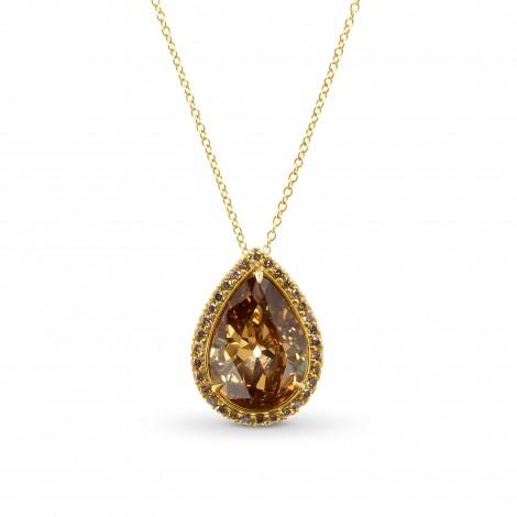 Fancy Deep Orange Brown Pear Shape Diamond Pendant., SKU 28984V (4.46Ct TW)