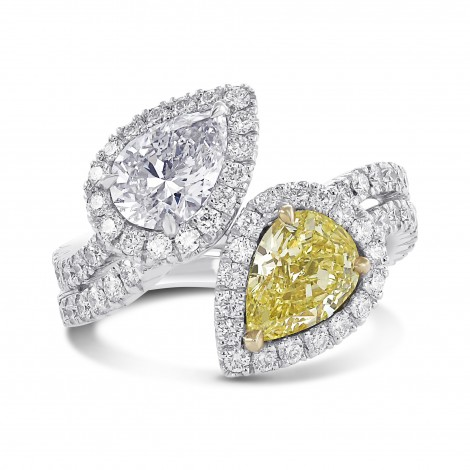 Fancy Intense Yellow and D color Pear Shape Diamond Two stone Ring, SKU 29048V (3.89Ct TW)