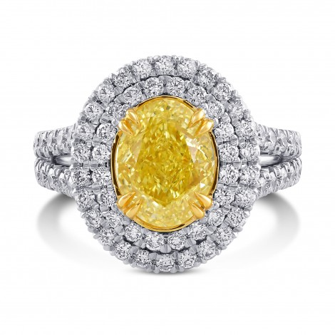 Fancy Intense Yellow Double Halo Diamond Ring, ARTIKELNUMMER 29080V (3,66 Karat TW)