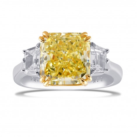 Radiant Intense Yellow Three Stone Diamond Ring, SKU 29081V (4.93Ct TW)