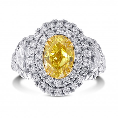 Vivid Yellow Oval Double Halo Side Stone Diamond Ring, SKU 29082V (3.56Ct TW)
