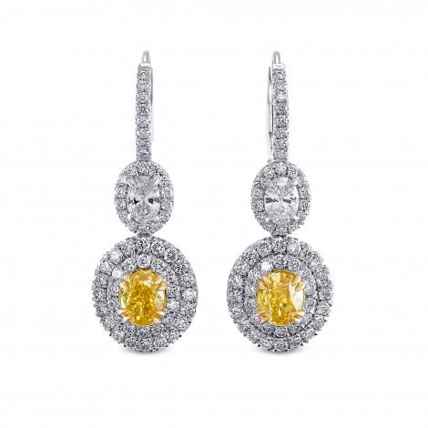 Fancy Vivid Yellow Drop Halo Diamond Earrings, SKU 29083V (4.11Ct TW)