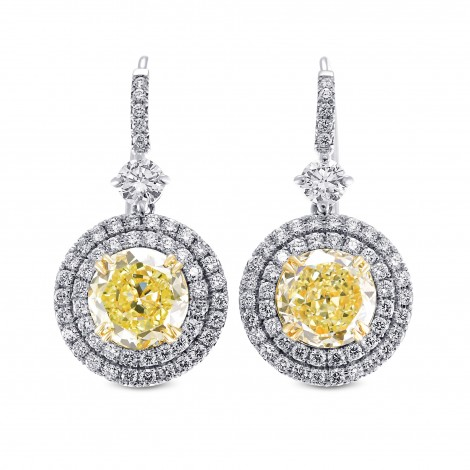 Fancy Yellow Brilliant Diamond Halo Earrings, SKU 29085V (8.24Ct TW)