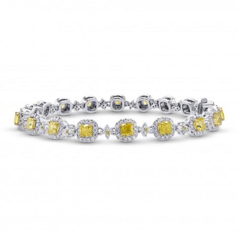 Fancy Intense Yellow Cushion Diamond Halo Bracelet, SKU 292528 (5.26Ct TW)