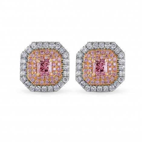 Exceptional Fancy Deep Pink Radiant Triple Halo Diamond Earrings, SKU 29289V (1.01Ct TW)