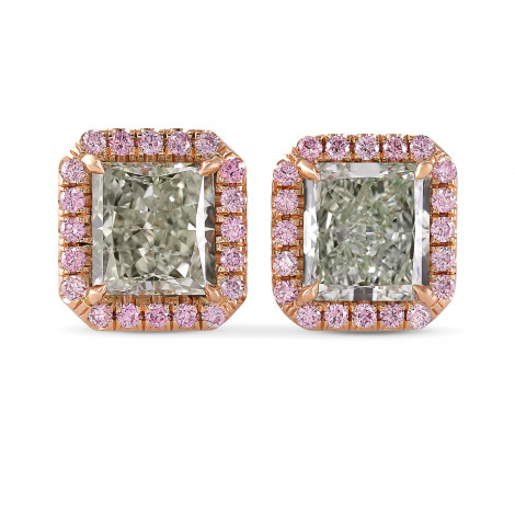 Exceptional Radiant Shape Fancy Green Halo Diamond Earrings, ARTIKELNUMMER 29290V (3,95 Karat TW)