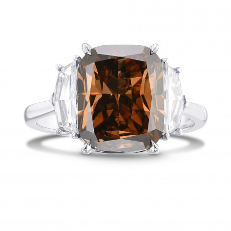 Fancy Dark Orangy Brown Cushion Diamond 3 Stone Ring, SKU 29333V (6.15Ct TW)