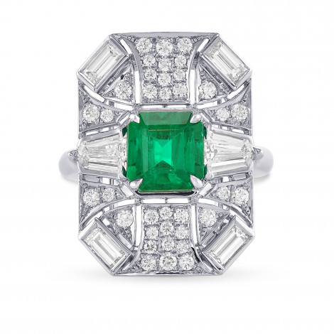 Colombian Emerald and Diamond Couture Halo Ring, SKU 29379V (3.70Ct TW)