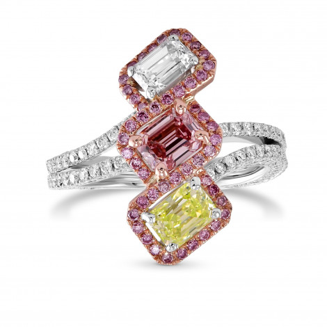 Extraordinary Mix color Three Stone Diamond Halo Ring, SKU 29385V (2.22Ct TW)