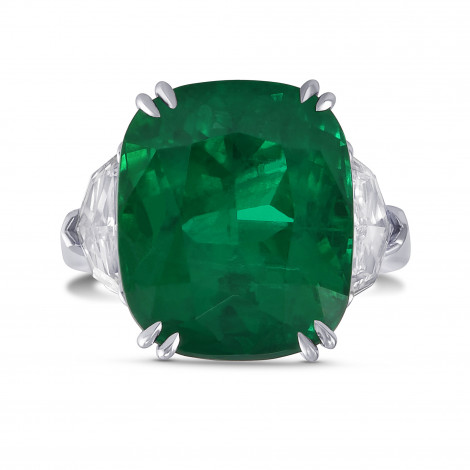 Exceptional Cushion Emerald and Diamond Three Stone Ring, SKU 29403V (13.30Ct TW)