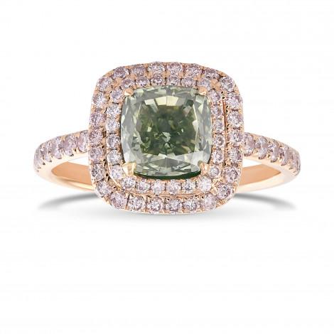 Fancy Grayish Yellowish Green Cushion Double Halo Diamond Ring, SKU 29430V (2.36Ct TW)