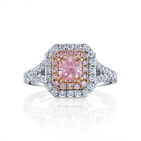 Fancy Intense Pink Radiant Diamond Halo Ring, SKU 29558V (2.05Ct TW)
