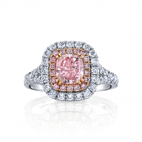 Fancy Intense Purplish Pink Cushion Diamond Halo Ring, SKU 29559V (2.79Ct TW)