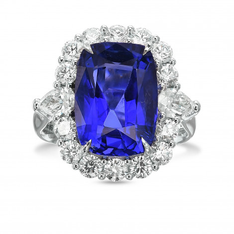 Exceptional No Heat Sapphire and Diamond Halo Side Stone Ring., SKU 29563V (9.97Ct TW)