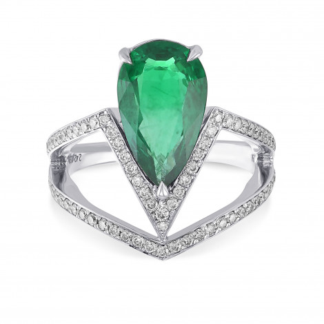Zambian Emerald & Diamond Side Stone Ring, ARTIKELNUMMER 29574V (2,81 Karat TW)