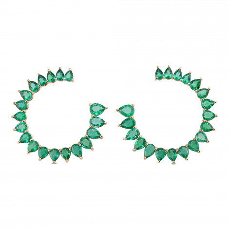 Colombian Emerald Pear Shape & 18K Yellow Gold Earrings, ARTIKELNUMMER 29576V (9,20 Karat TW)