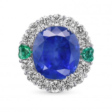 Oval Burma no heat Sapphire, Emerald and Diamond Couture Halo Ring, SKU 29720V (22.03Ct TW)