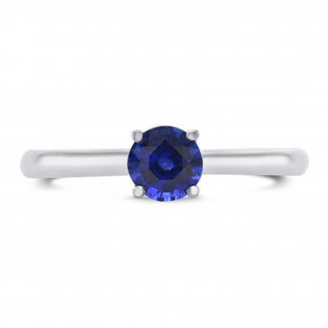 Blue Round Sapphire Solitaire Ring, SKU 297510 (0.71Ct)