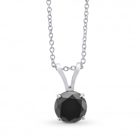 Round Black Diamond Solitaire Pendant, SKU 299239 (1.37Ct)