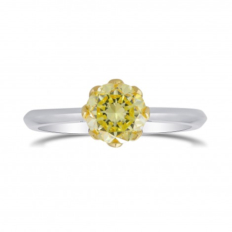 Fancy Yellow Round Brilliant Diamond Solitaire Ring, ARTIKELNUMMER 302080 (0,94 Karat)